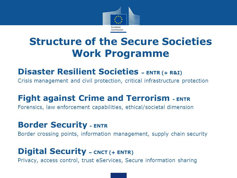 Structure of the Secure Societies Work Programme
