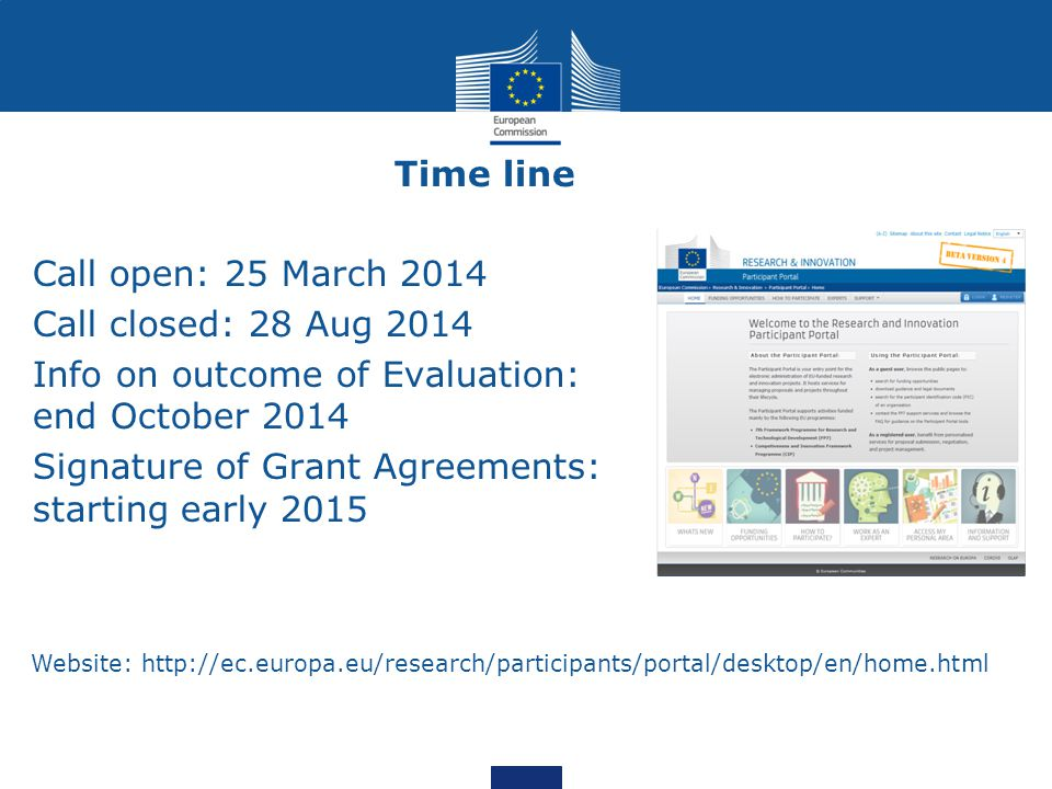 Info on outcome of Evaluation: end October 2014