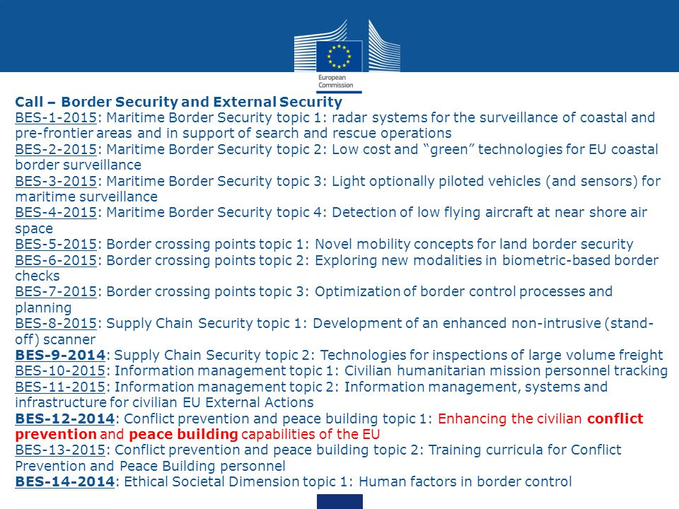 Call – Border Security and External Security