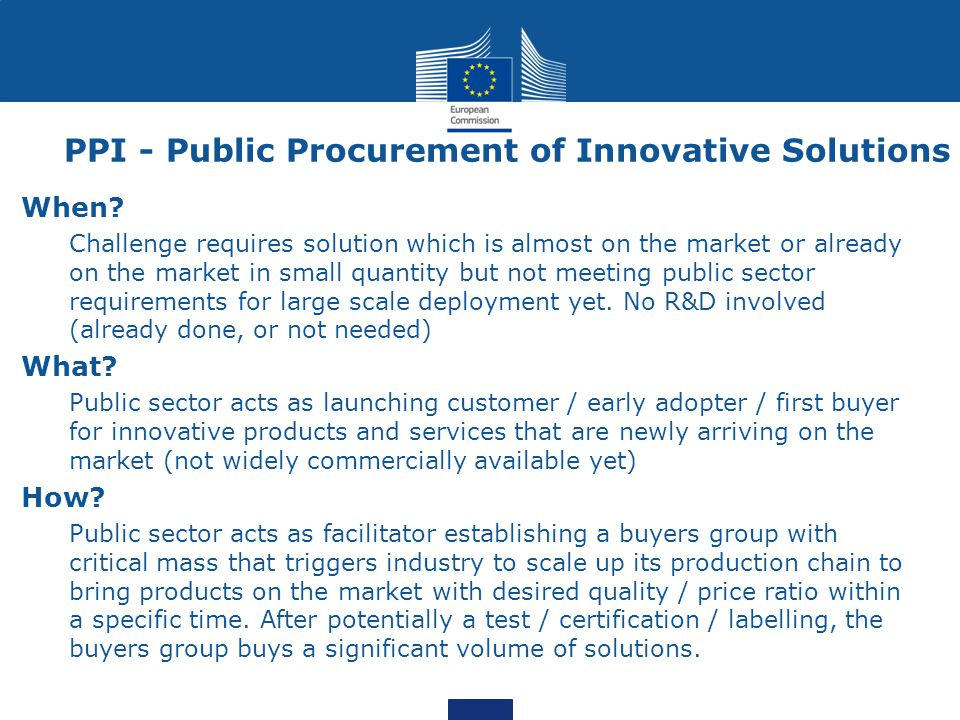 PPI - Public Procurement of Innovative Solutions