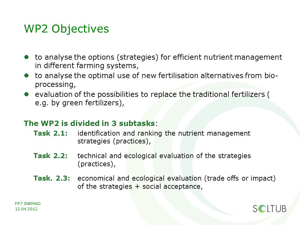 WP2 Objectives to analyse the options (strategies) for efficient nutrient management in different farming systems,