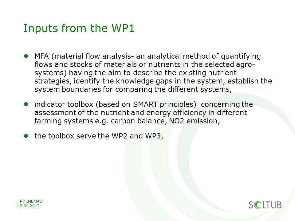 Inputs from the WP1