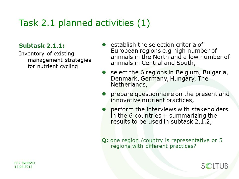 Task 2.1 planned activities (1)