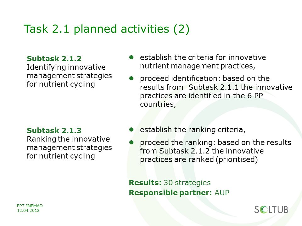 Task 2.1 planned activities (2)