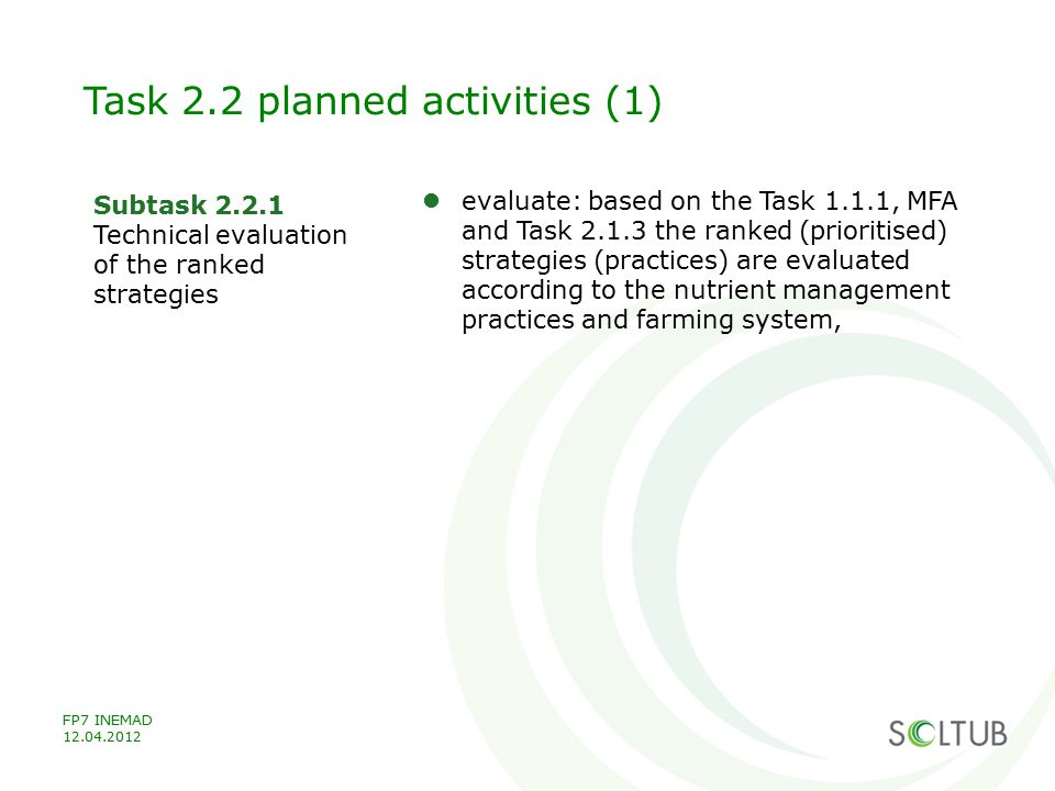 Task 2.2 planned activities (1)