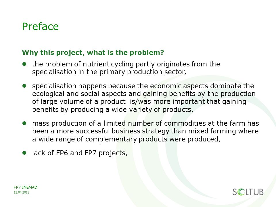 Preface Why this project, what is the problem