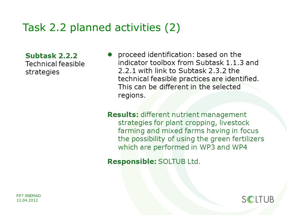 Task 2.2 planned activities (2)