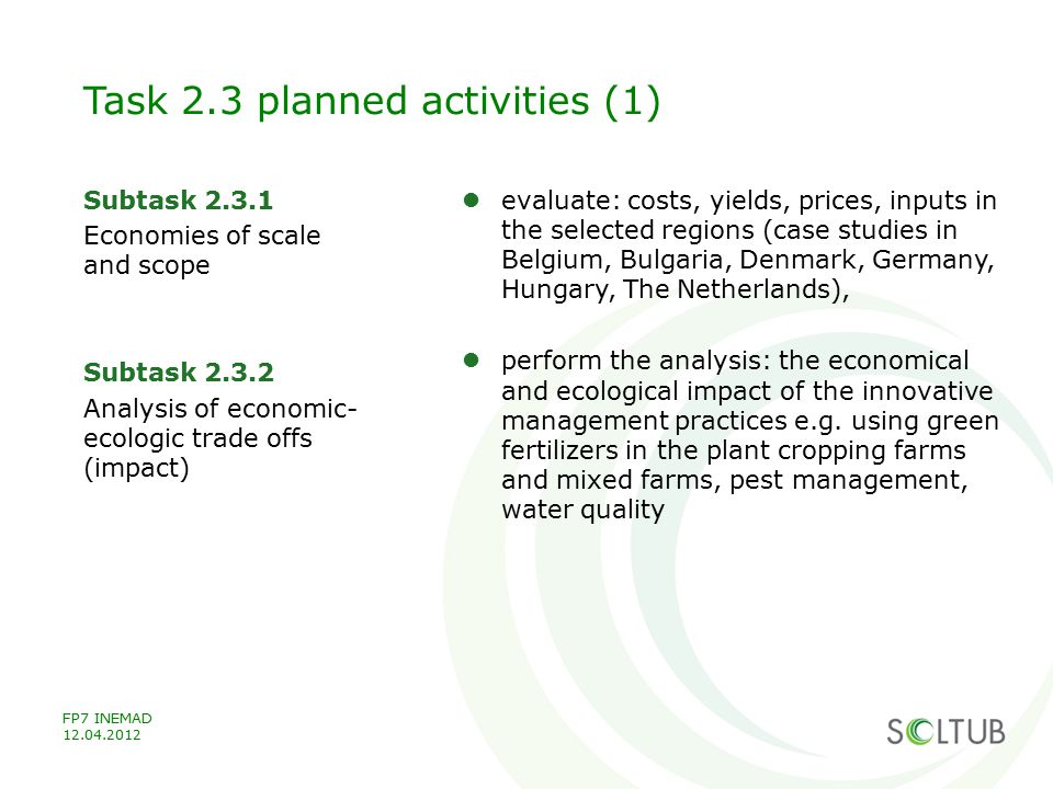 Task 2.3 planned activities (1)