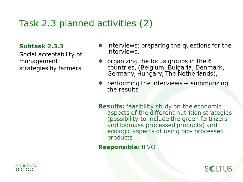 Task 2.3 planned activities (2)