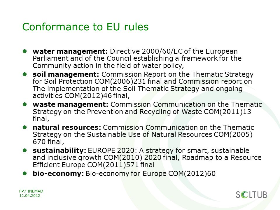 Conformance to EU rules