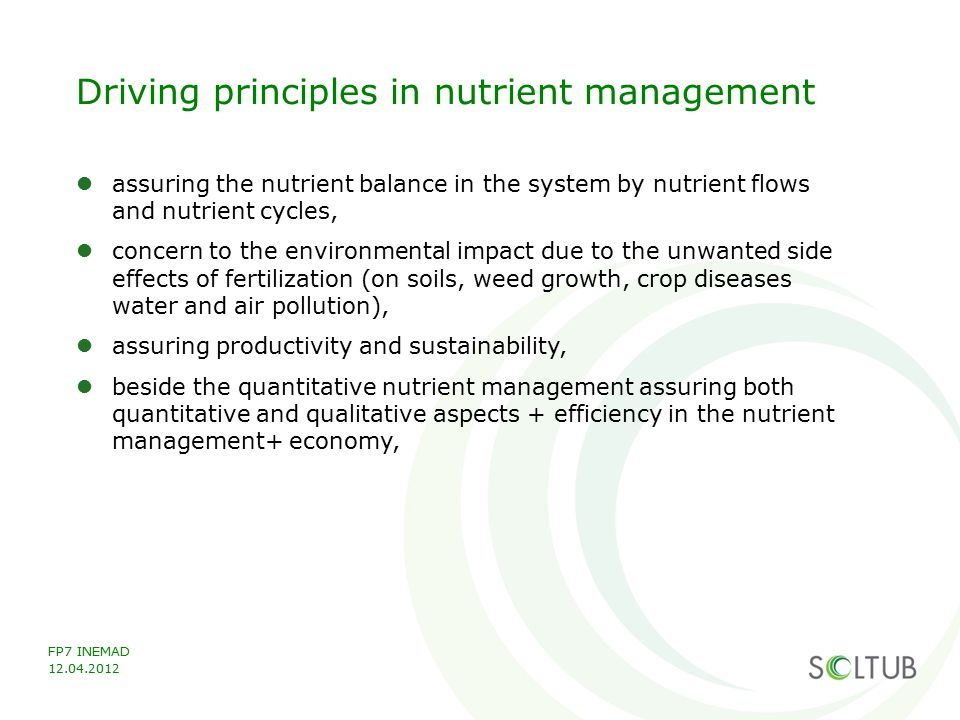 Driving principles in nutrient management