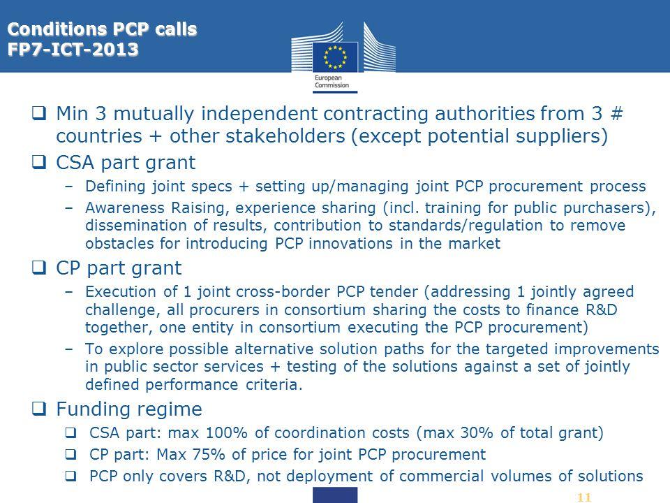 Conditions PCP calls FP7-ICT-2013.