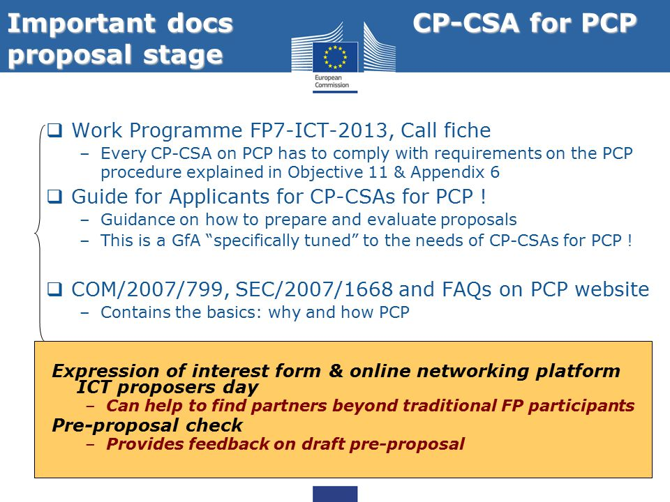 Important docs CP-CSA for PCP proposal stage