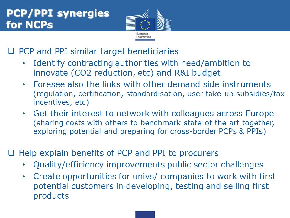 PCP/PPI synergies for NCPs PCP and PPI similar target beneficiaries
