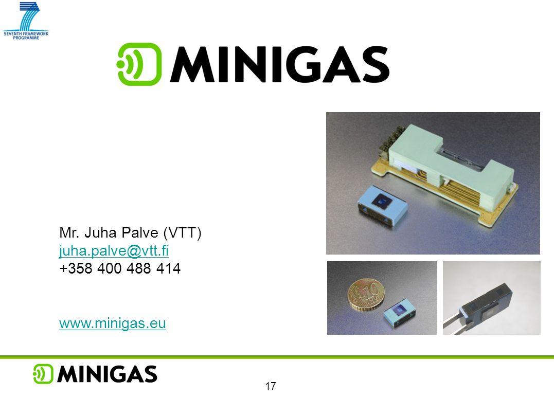 Mr. Juha Palve (VTT) juha.palve@vtt.fi +358 400 488 414 www.minigas.eu