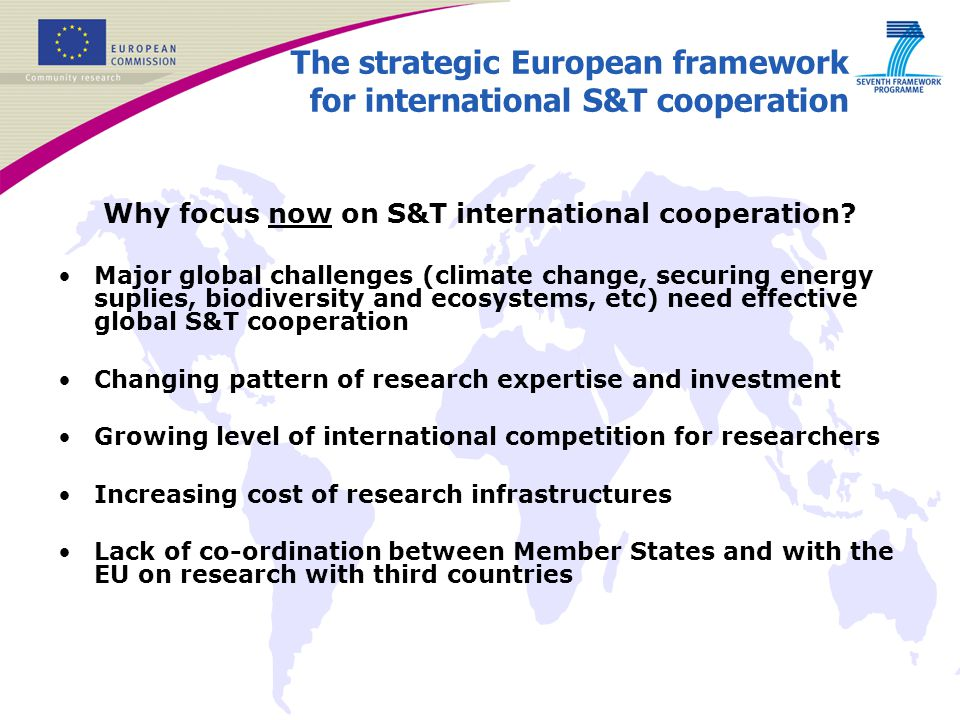 The strategic European framework for international S&T cooperation
