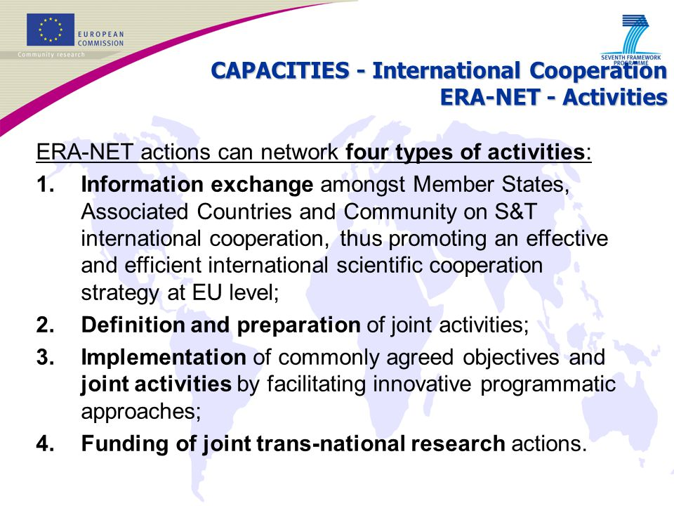 CAPACITIES - International Cooperation ERA-NET - Activities