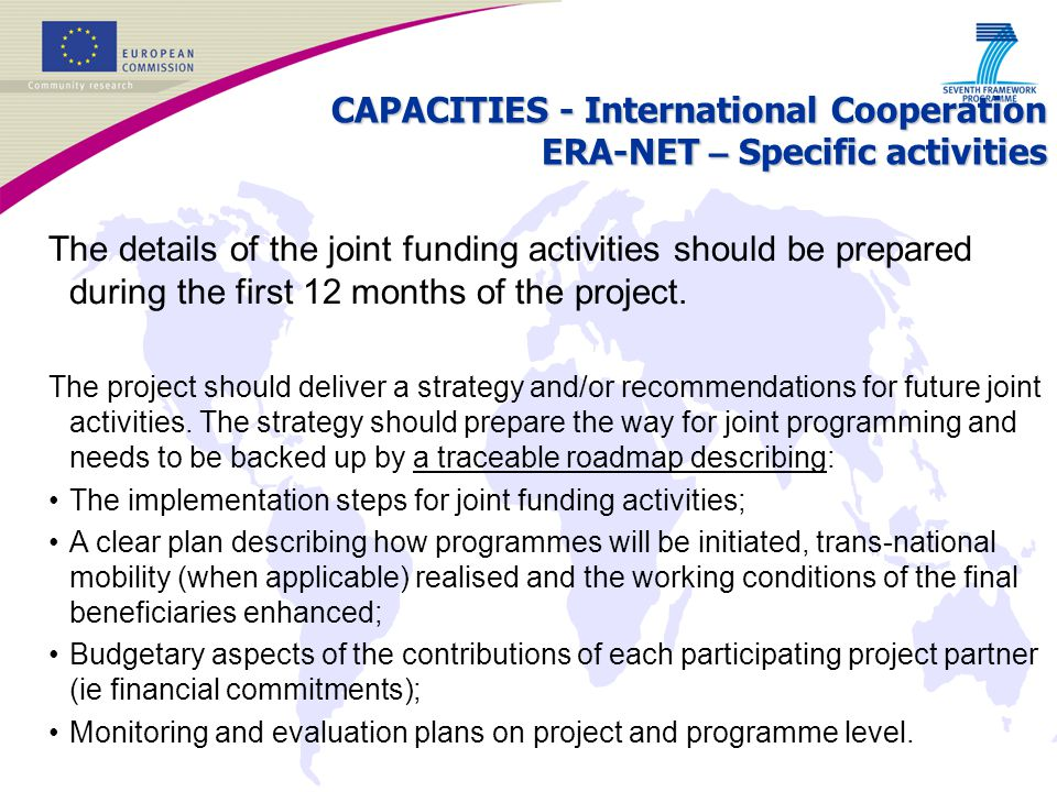 CAPACITIES - International Cooperation ERA-NET – Specific activities