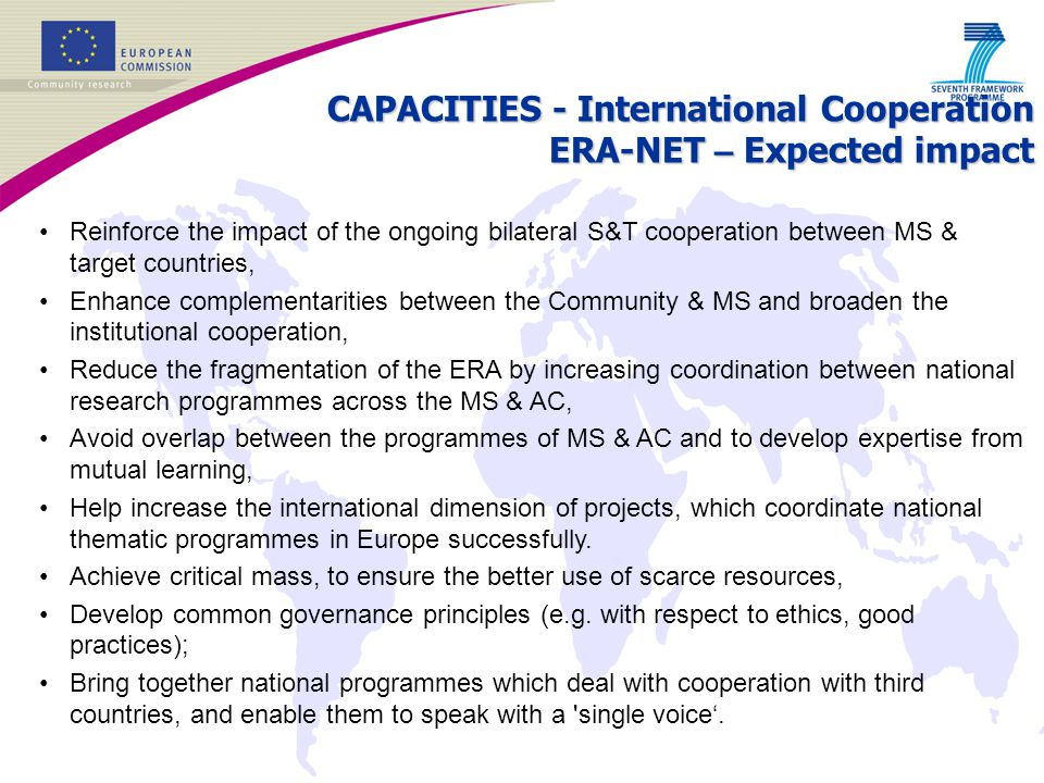 CAPACITIES - International Cooperation ERA-NET – Expected impact