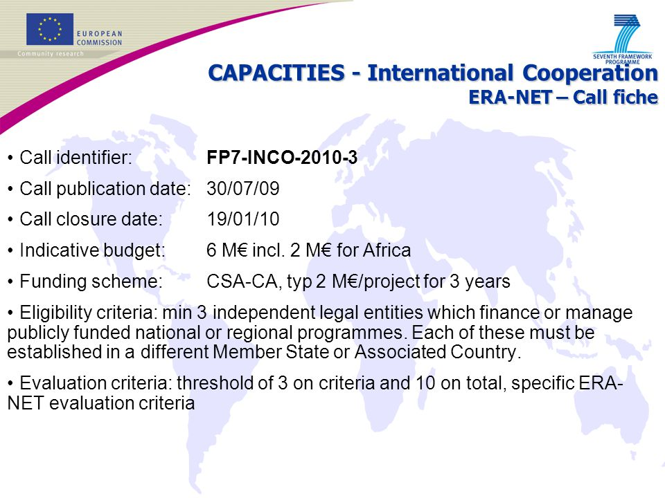 CAPACITIES - International Cooperation ERA-NET – Call fiche