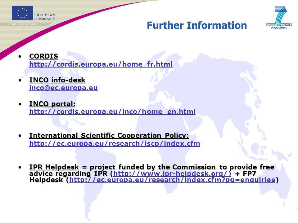 Further Information CORDIS http://cordis.europa.eu/home_fr.html