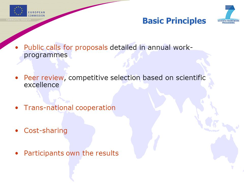 Basic Principles Public calls for proposals detailed in annual work-programmes. Peer review, competitive selection based on scientific excellence.
