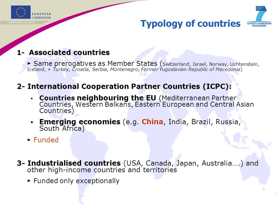 Typology of countries 1- Associated countries.