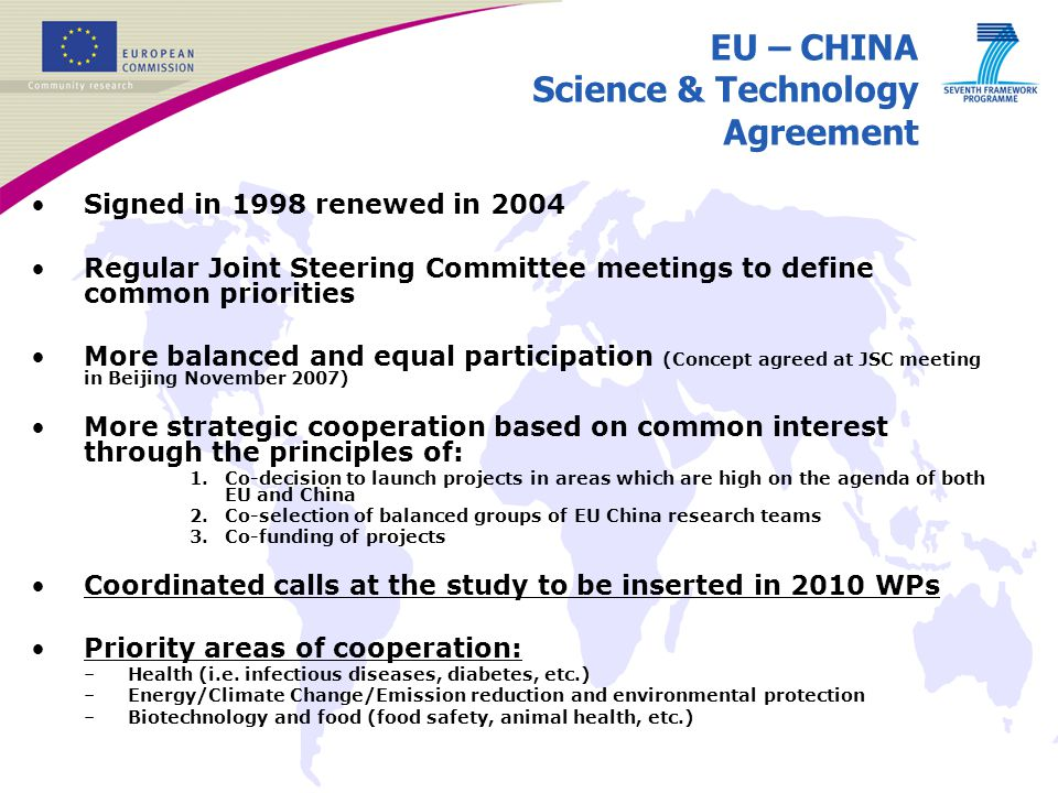 EU – CHINA Science & Technology Agreement