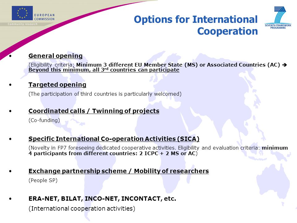 Options for International Cooperation
