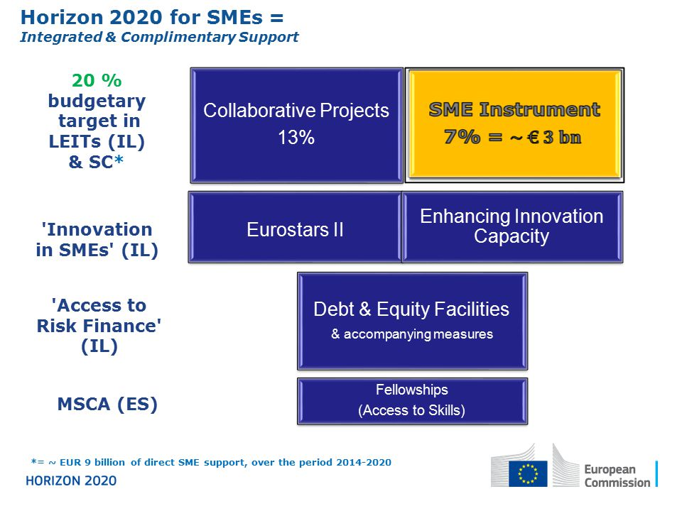 Horizon 2020 for SMEs = Collaborative Projects 13%