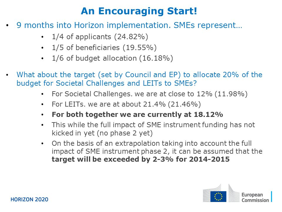 An Encouraging Start! 9 months into Horizon implementation. SMEs represent… 1/4 of applicants (24.82%)