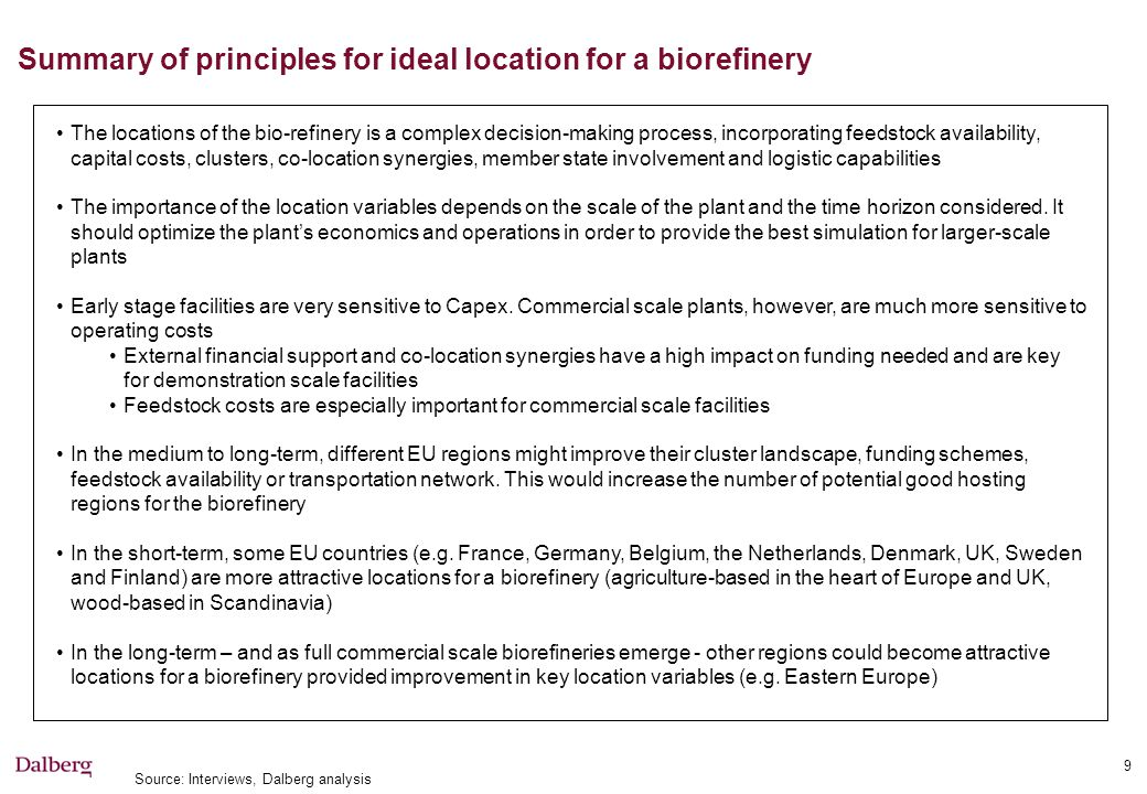 Steps to define location of demonstration biorefinery