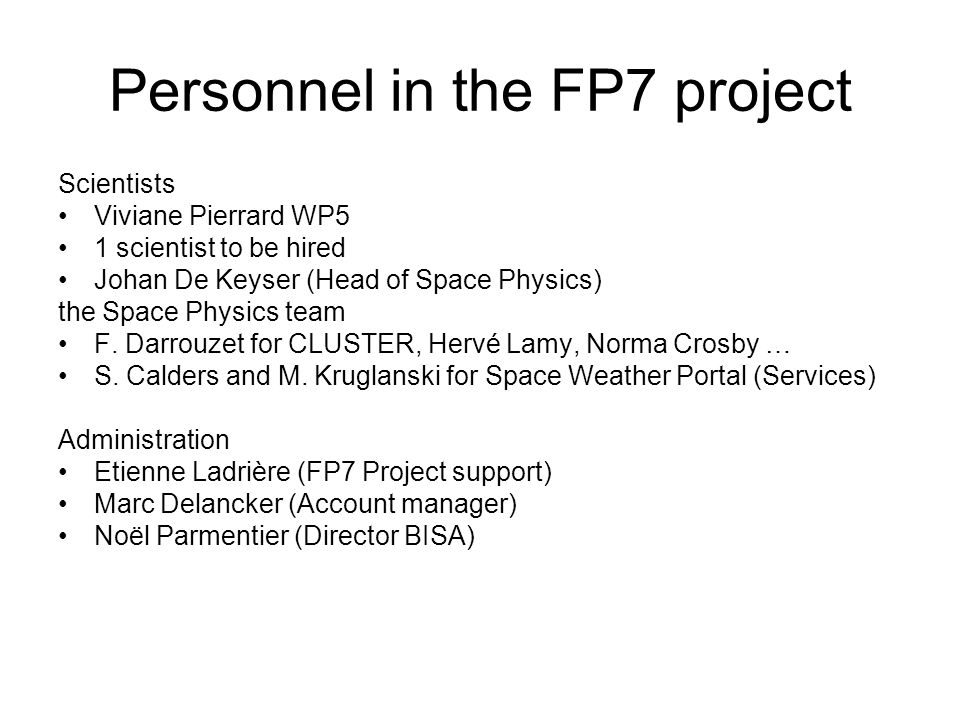 Personnel in the FP7 project