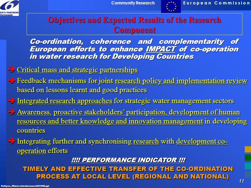 Objectives and Expected Results of the Research Component