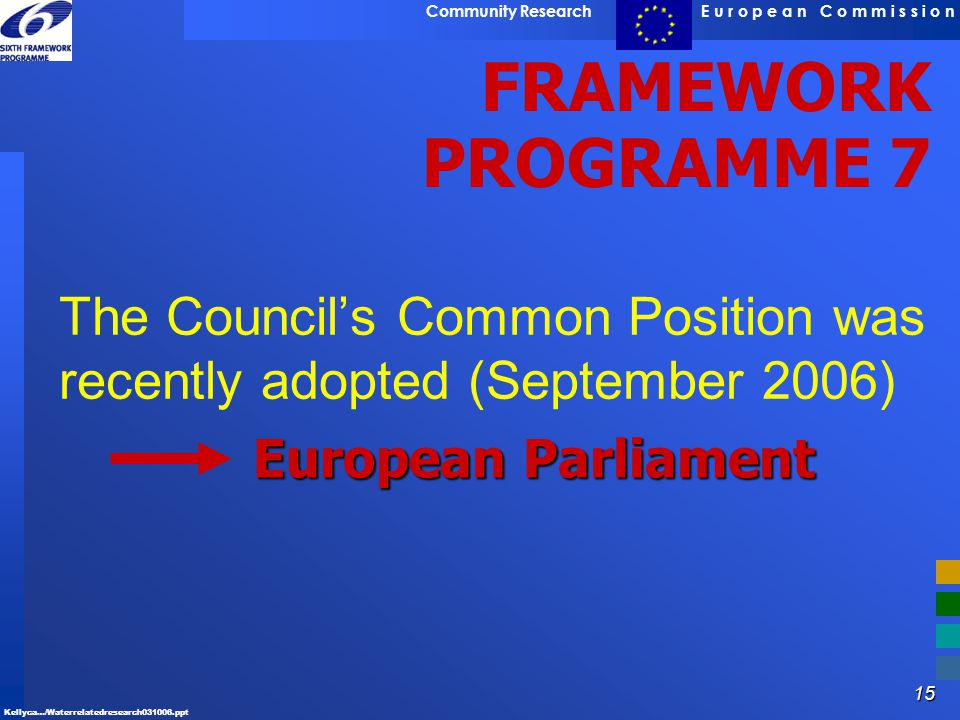 The Council's Common Position was recently adopted (September 2006)