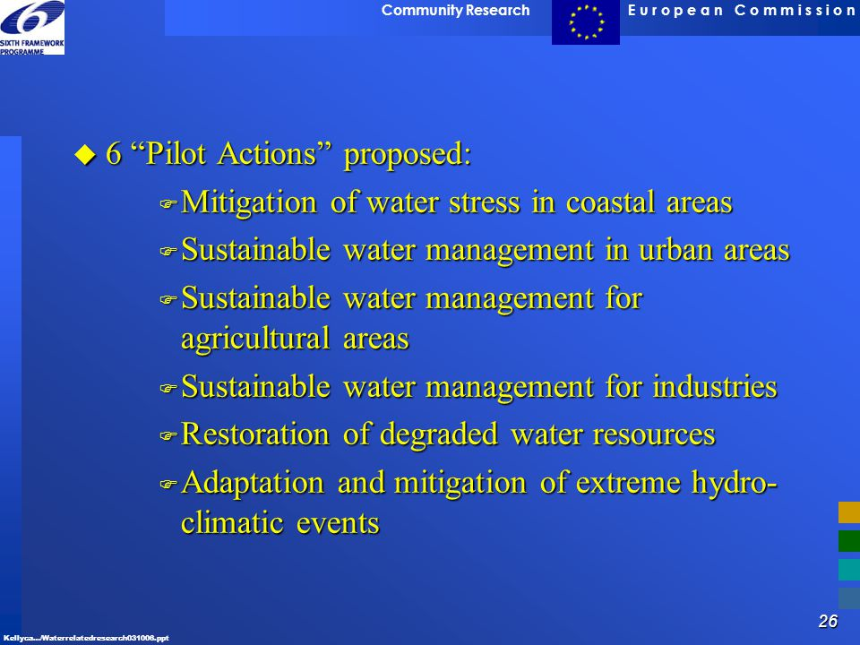 6 Pilot Actions proposed: