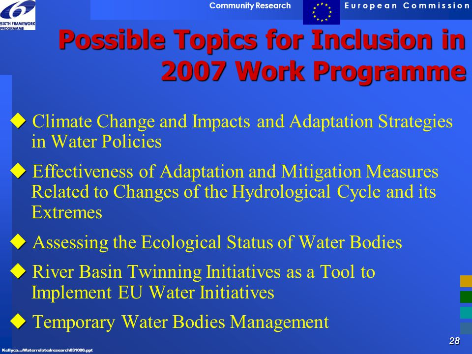 Possible Topics for Inclusion in 2007 Work Programme