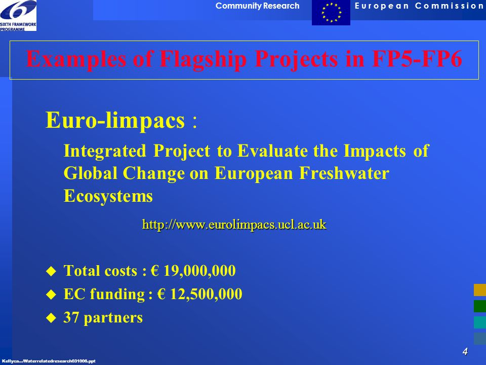 Examples of Flagship Projects in FP5-FP6