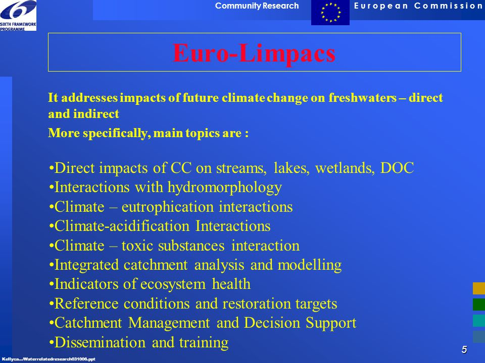 Euro-Limpacs Direct impacts of CC on streams, lakes, wetlands, DOC