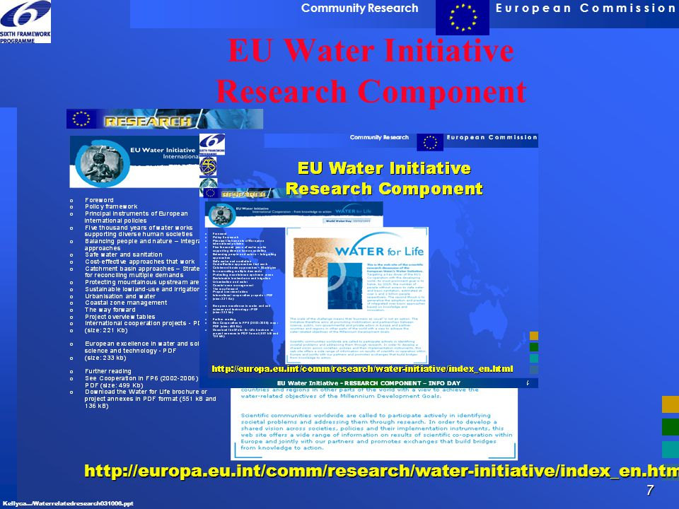 EU Water Initiative Research Component