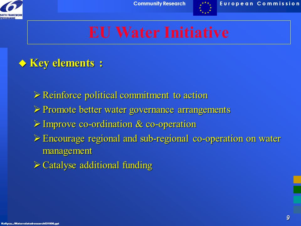EU Water Initiative Key elements :