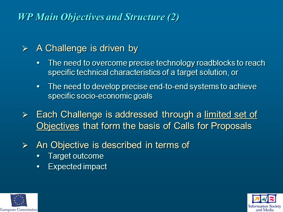 WP Main Objectives and Structure (2)