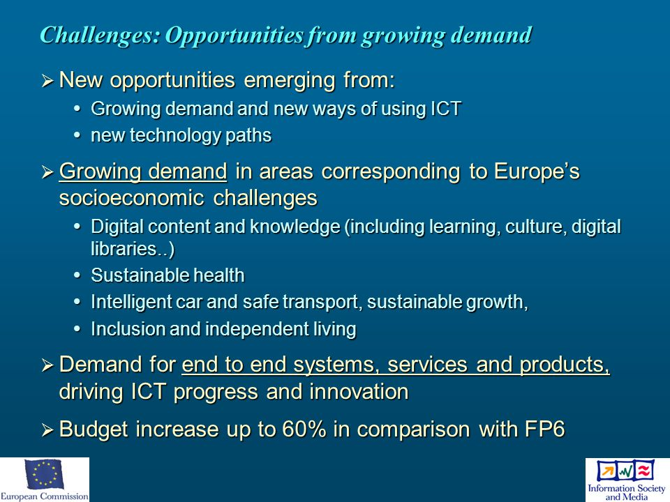 Challenges: Opportunities from growing demand