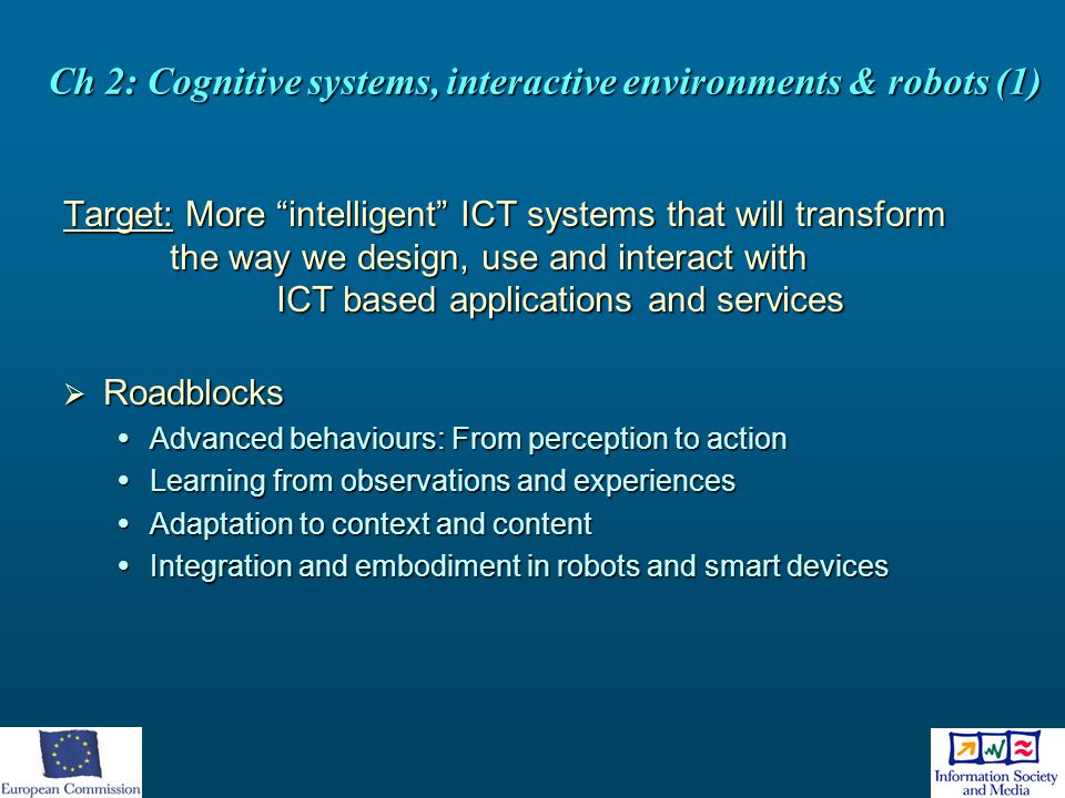 Ch 2: Cognitive systems, interactive environments & robots (1)
