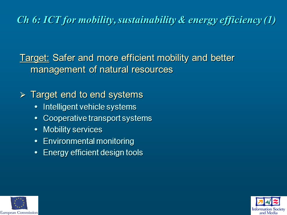 Ch 6: ICT for mobility, sustainability & energy efficiency (1)