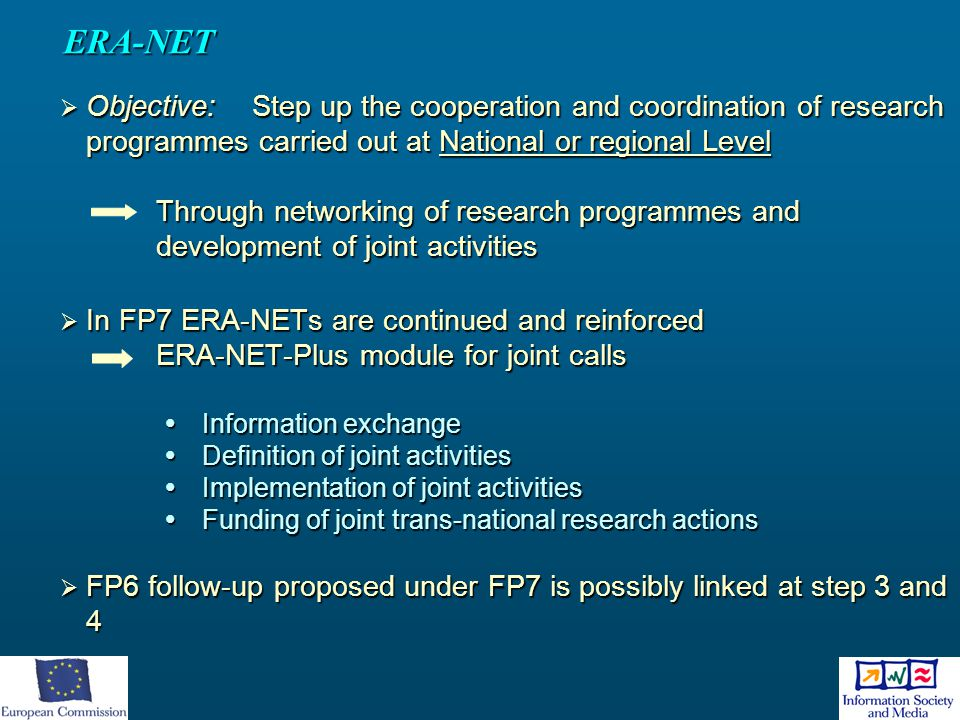 ERA-NET Objective: Step up the cooperation and coordination of research programmes carried out at National or regional Level.