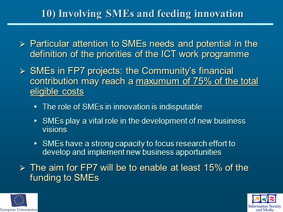10) Involving SMEs and feeding innovation