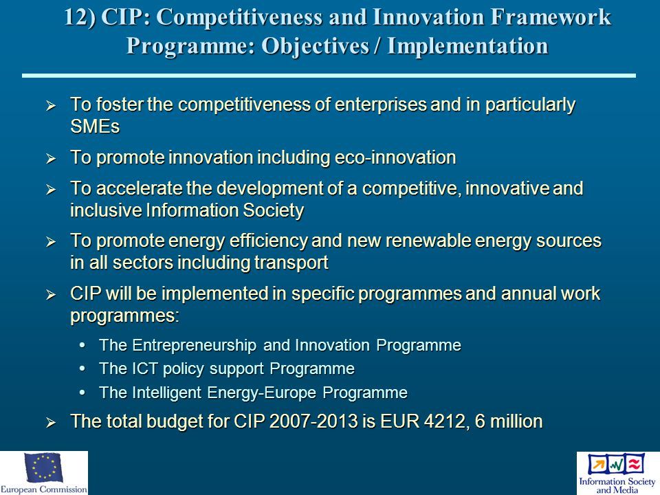 12) CIP: Competitiveness and Innovation Framework Programme: Objectives / Implementation