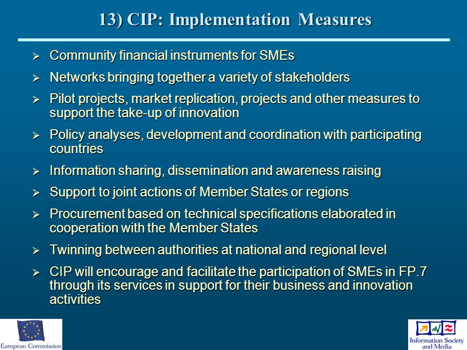 13) CIP: Implementation Measures