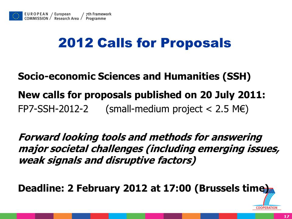 2012 Calls for Proposals Socio-economic Sciences and Humanities (SSH)